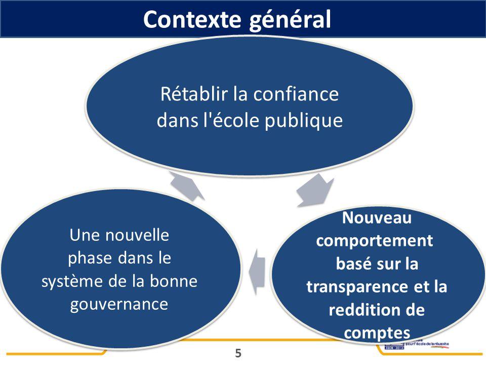 Contexte général 5 Rétablir la confiance dans l école publique Nouveau comportement basé sur la transparence et la reddition de comptes Une nouvelle phase dans le système de la bonne gouvernance