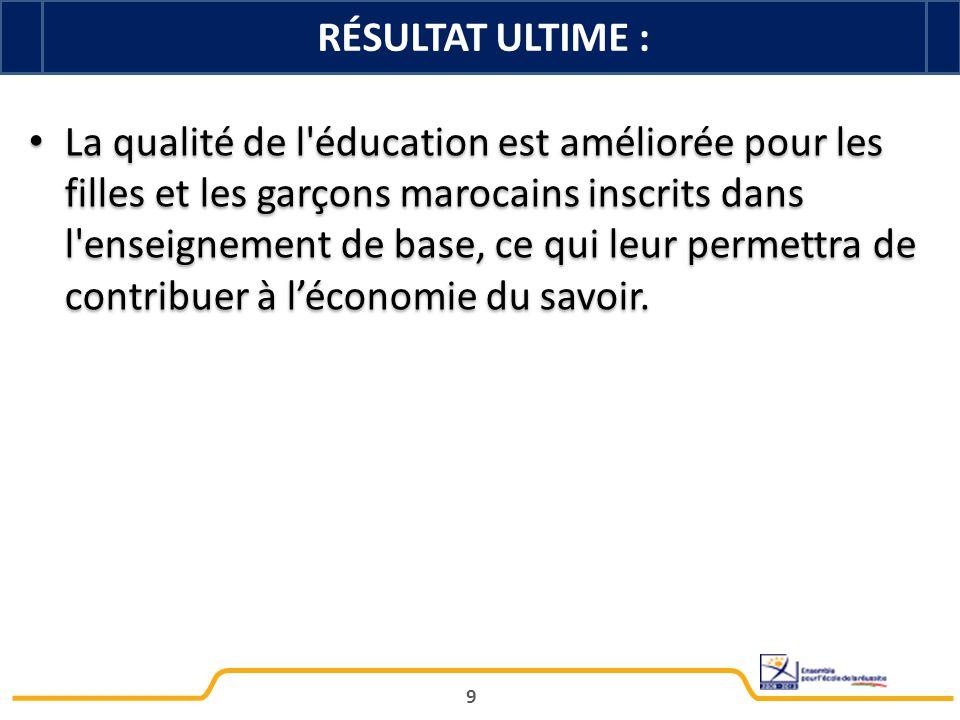 9 La qualité de l'éducation est améliorée pour les filles et les garçons marocains inscrits dans l'enseignement de base, ce qui leur permettra de cont