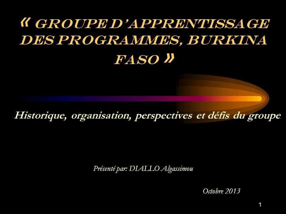 « Groupe d'apprentissage des programmes, Burkina Faso » Présenté par: DIALLO Algassimou Octobre 2013 Historique, organisation, perspectives et défis du groupe 1
