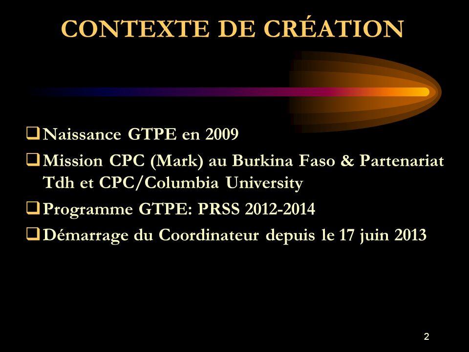 CONTEXTE DE CRÉATION  Naissance GTPE en 2009  Mission CPC (Mark) au Burkina Faso & Partenariat Tdh et CPC/Columbia University  Programme GTPE: PRSS 2012-2014  Démarrage du Coordinateur depuis le 17 juin 2013 2