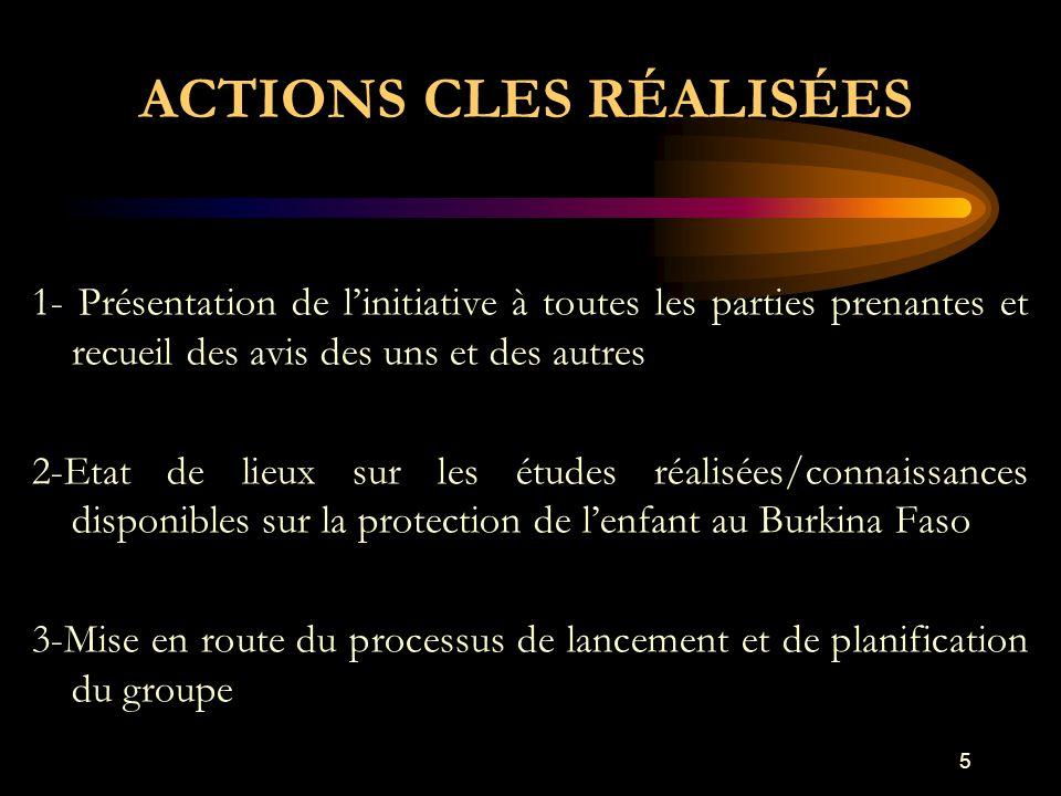 ACTIONS CLES RÉALISÉES 1- Présentation de l'initiative à toutes les parties prenantes et recueil des avis des uns et des autres 2-Etat de lieux sur les études réalisées/connaissances disponibles sur la protection de l'enfant au Burkina Faso 3-Mise en route du processus de lancement et de planification du groupe 5