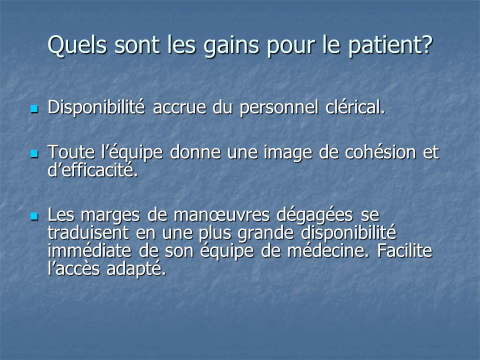 Quels sont les gains pour le patient? Disponibilité accrue du personnel clérical. Disponibilité accrue du personnel clérical. Toute l'équipe donne une