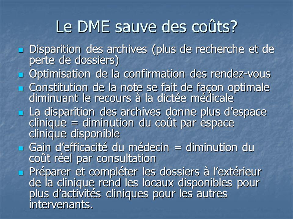 Le DME sauve des coûts? Disparition des archives (plus de recherche et de perte de dossiers) Disparition des archives (plus de recherche et de perte d