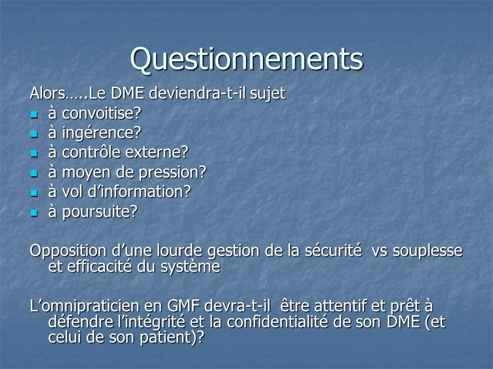 Questionnements Alors…..Le DME deviendra-t-il sujet à convoitise? à convoitise? à ingérence? à ingérence? à contrôle externe? à contrôle externe? à mo