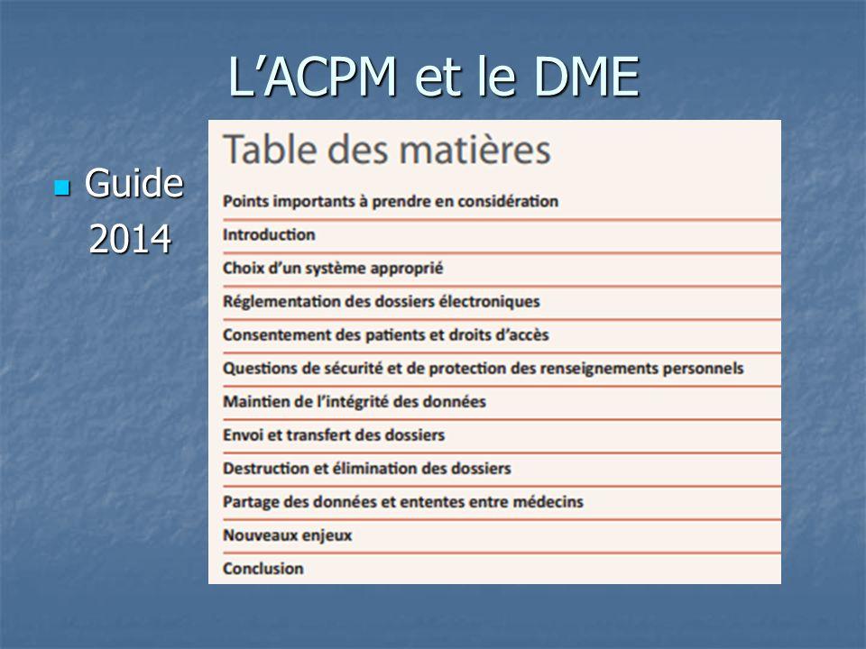 L'ACPM et le DME Guide Guide 2014 2014