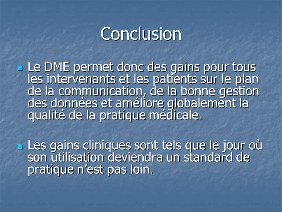 Conclusion Le DME permet donc des gains pour tous les intervenants et les patients sur le plan de la communication, de la bonne gestion des données et améliore globalement la qualité de la pratique médicale.