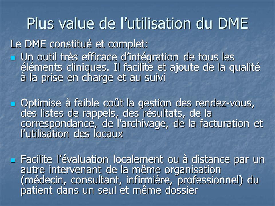 Plus value de l'utilisation du DME Le DME constitué et complet: Un outil très efficace d'intégration de tous les éléments cliniques. Il facilite et aj