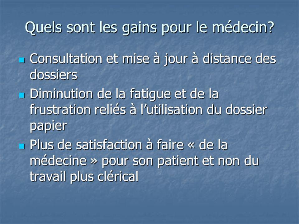 Quels sont les gains pour le médecin? Consultation et mise à jour à distance des dossiers Consultation et mise à jour à distance des dossiers Diminuti