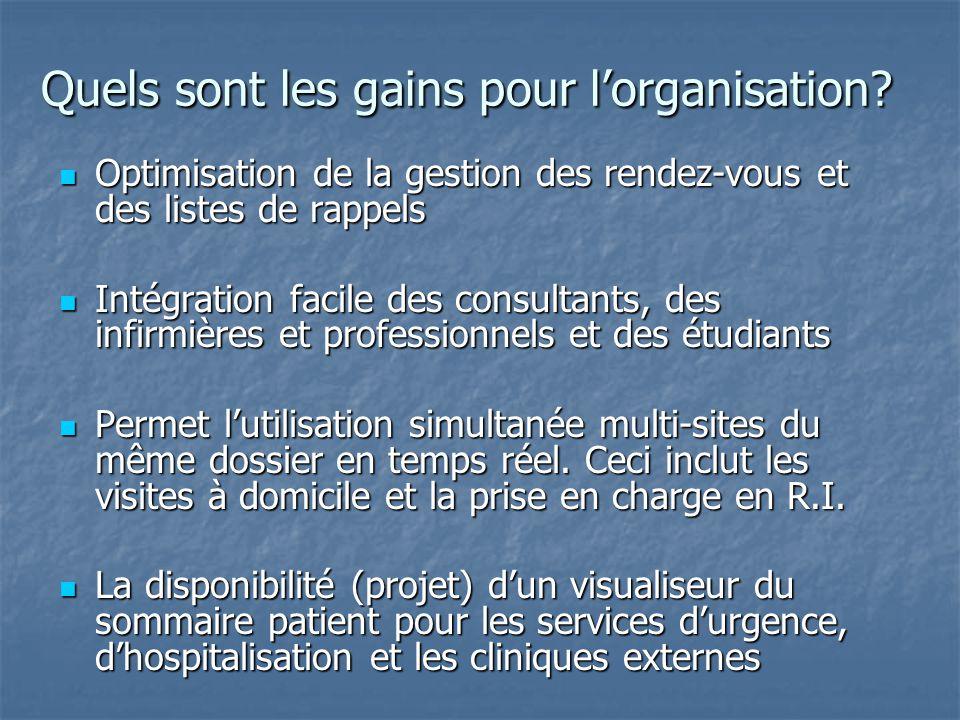 Quels sont les gains pour l'organisation? Optimisation de la gestion des rendez-vous et des listes de rappels Optimisation de la gestion des rendez-vo