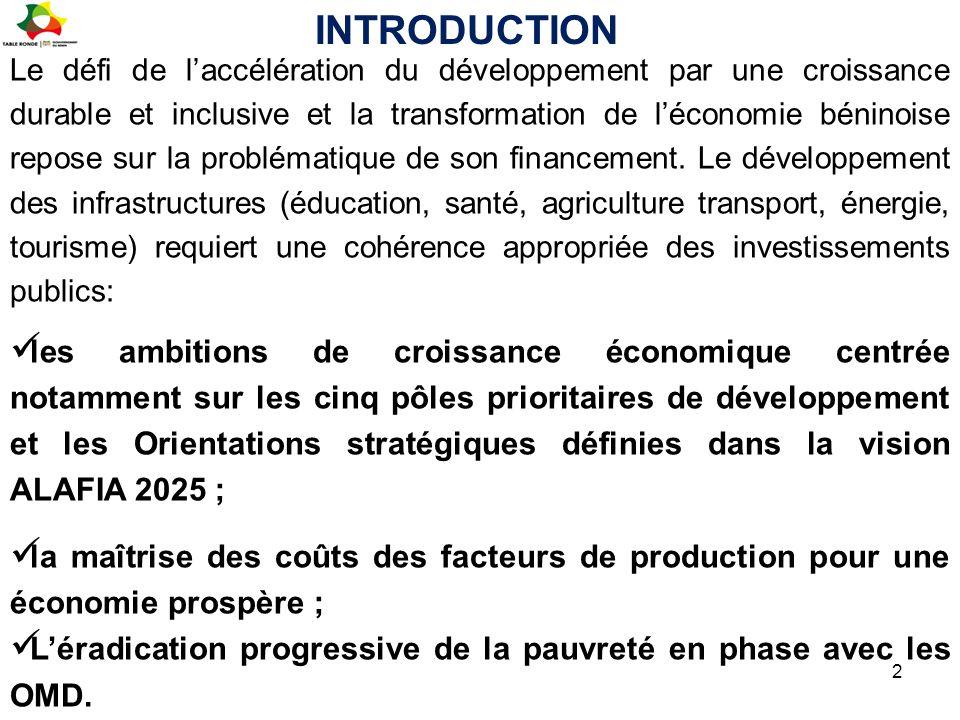 Le défi de l'accélération du développement par une croissance durable et inclusive et la transformation de l'économie béninoise repose sur la probléma