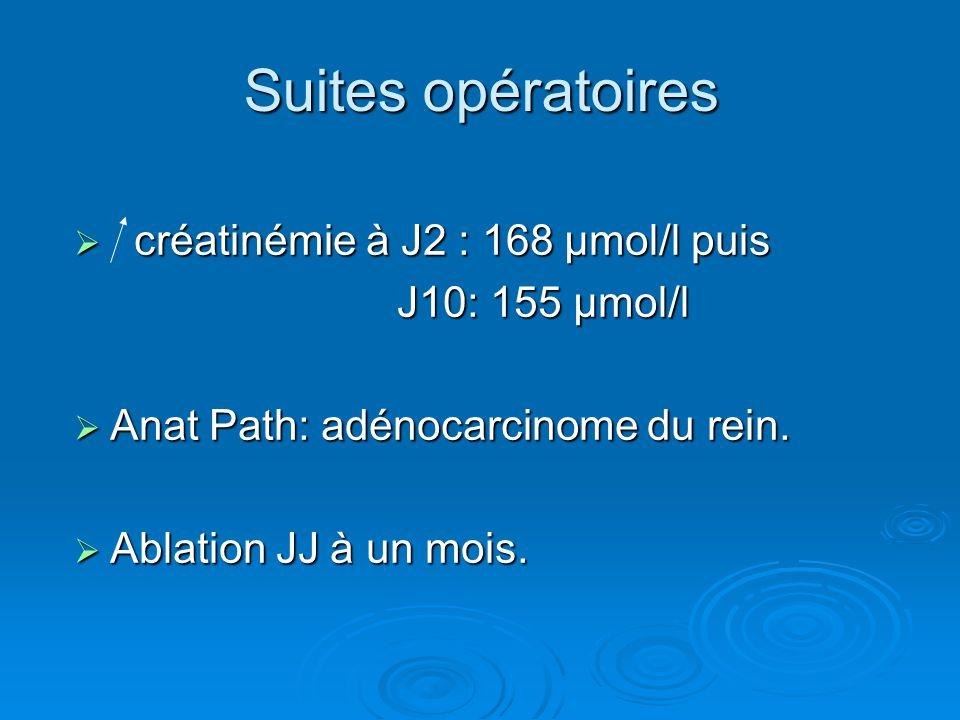 Suites opératoires  créatinémie à J2 : 168 µmol/l puis J10: 155 µmol/l J10: 155 µmol/l  Anat Path: adénocarcinome du rein.  Ablation JJ à un mois.