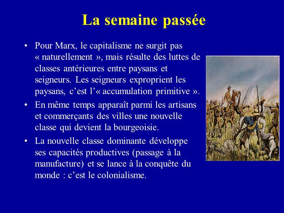 La semaine passée Pour Marx, le capitalisme ne surgit pas « naturellement », mais résulte des luttes de classes antérieures entre paysans et seigneurs.