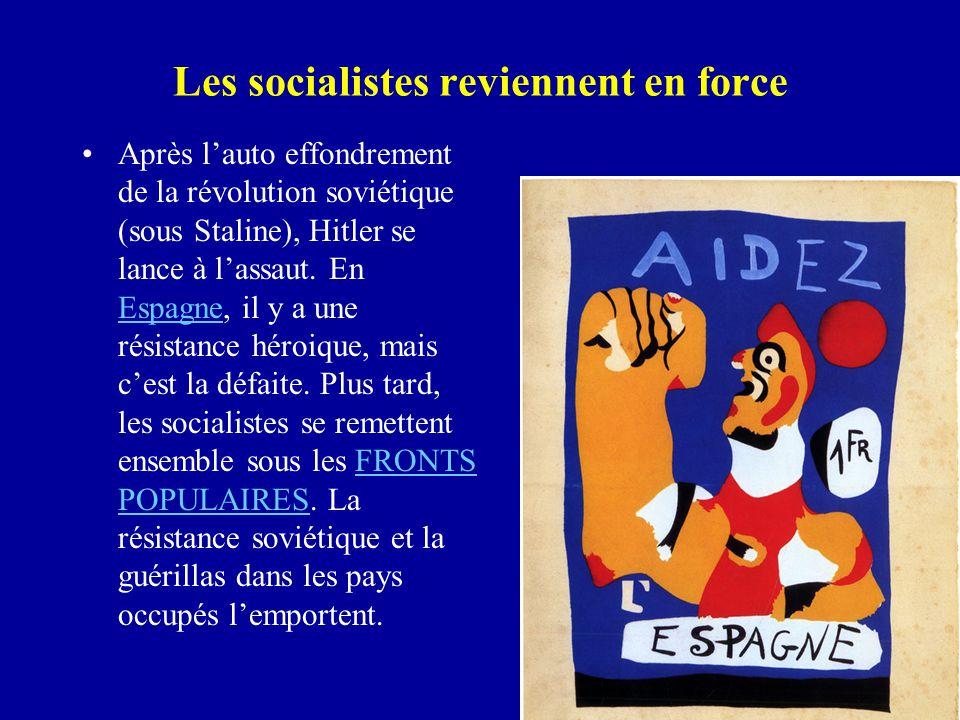 Les socialistes reviennent en force Après l'auto effondrement de la révolution soviétique (sous Staline), Hitler se lance à l'assaut.