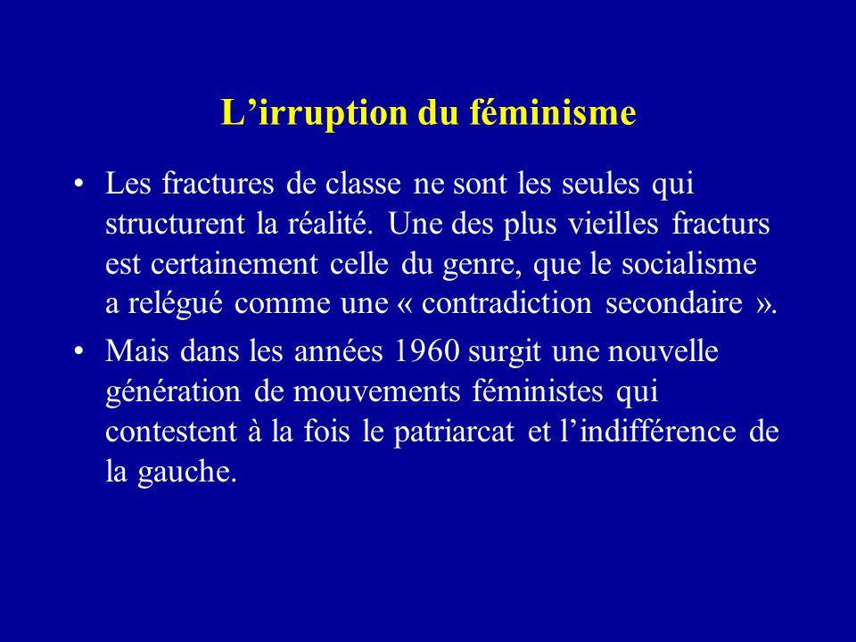 L'irruption du féminisme Les fractures de classe ne sont les seules qui structurent la réalité.
