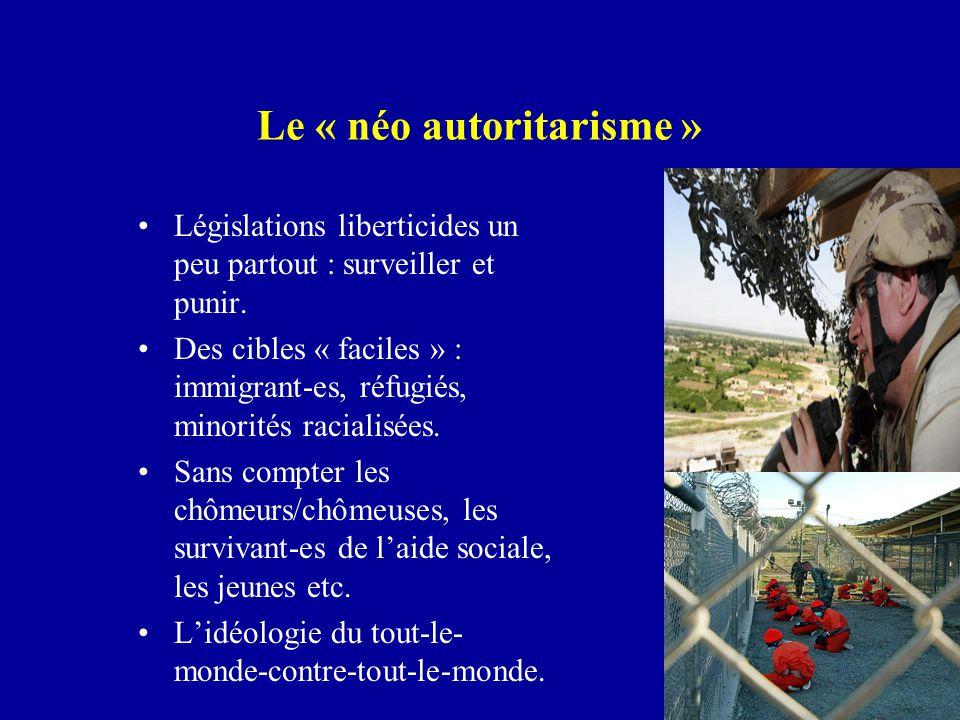 Le « néo autoritarisme » Législations liberticides un peu partout : surveiller et punir.