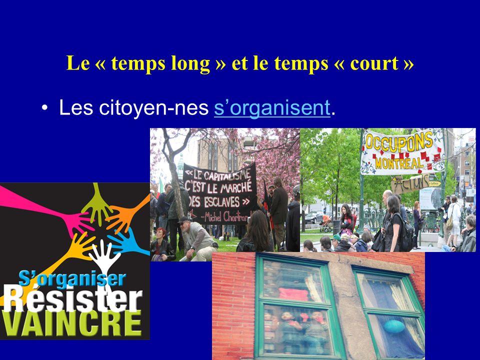 Le « temps long » et le temps « court » Les citoyen-nes s'organisent.s'organisent
