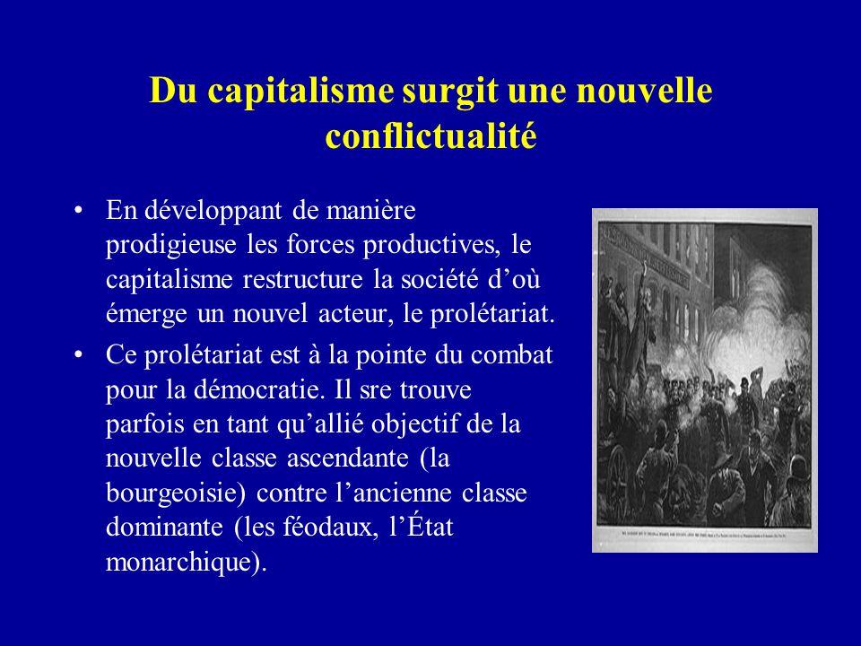 Du capitalisme surgit une nouvelle conflictualité En développant de manière prodigieuse les forces productives, le capitalisme restructure la société d'où émerge un nouvel acteur, le prolétariat.
