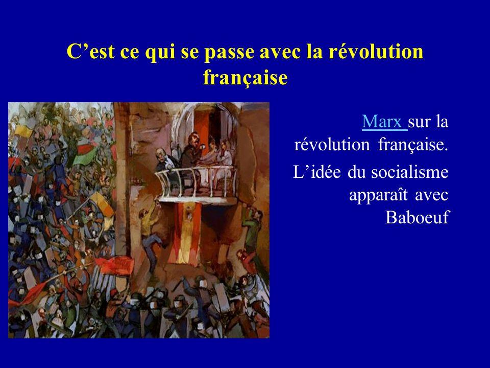 C'est ce qui se passe avec la révolution française Marx Marx sur la révolution française.
