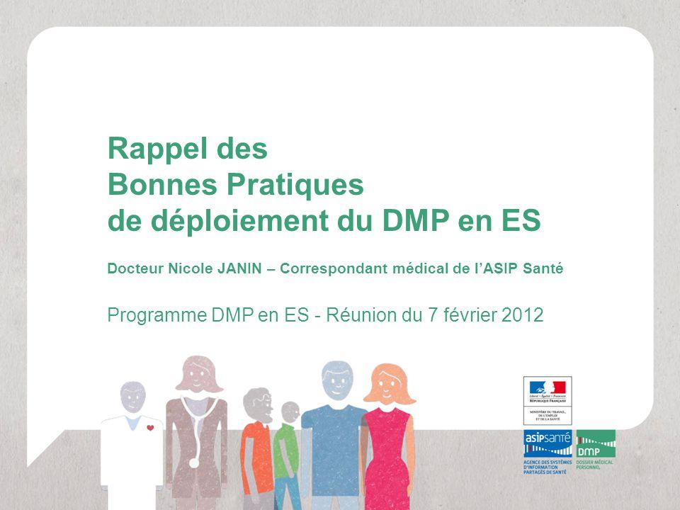 Rappel des Bonnes Pratiques de déploiement du DMP en ES Docteur Nicole JANIN – Correspondant médical de l'ASIP Santé Programme DMP en ES - Réunion du
