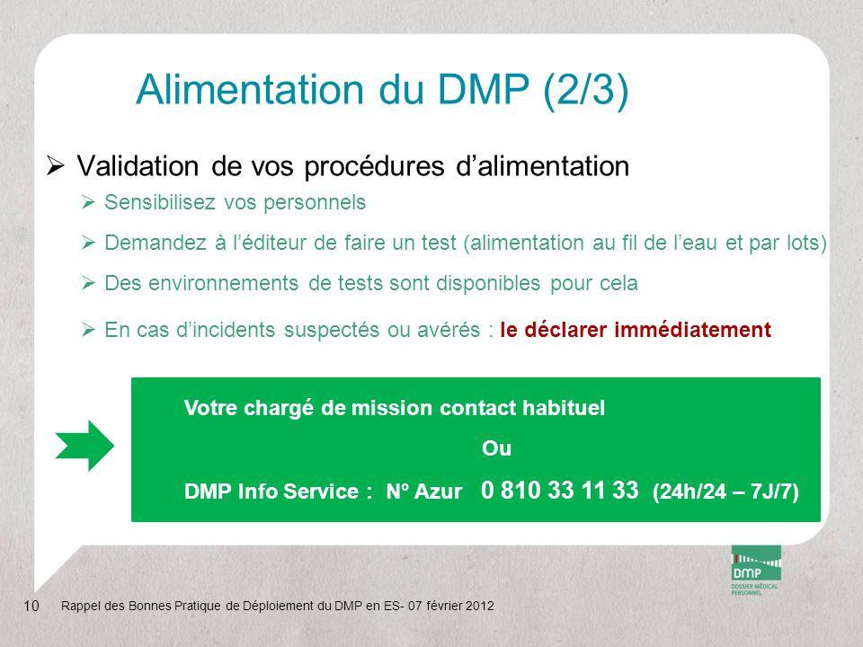 Alimentation du DMP (2/3)  Validation de vos procédures d'alimentation  Sensibilisez vos personnels  Demandez à l'éditeur de faire un test (aliment