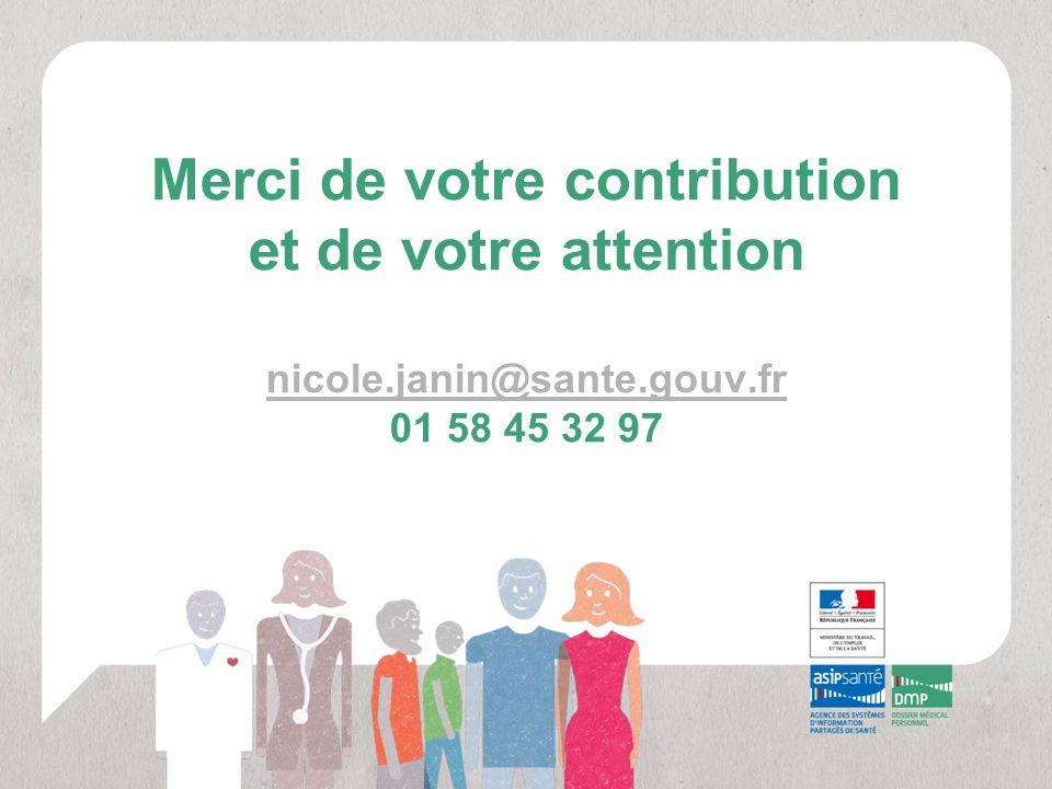 Merci de votre contribution et de votre attention nicole.janin@sante.gouv.fr 01 58 45 32 97 nicole.janin@sante.gouv.fr