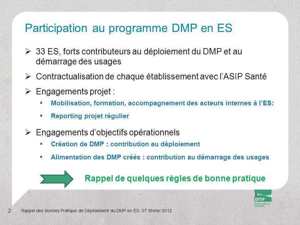 Création du DMP (1/6)  En accès web PS ou avec un logiciel de GAM DMP-compatible  Authentification forte de l'opérateur par CPE ou certificat de l'ES Rappel des Bonnes Pratique de Déploiement du DMP en ES- 07 février 2012 3 Media utiliséType d'authentificationTotal Accès LPS Par CPE5, 5 % Par CPS42, 5% Par certificat ES27 % Accès Web PS Par CPE20 % Par CPS5 % Total au 04/02/201274 962 (100%)