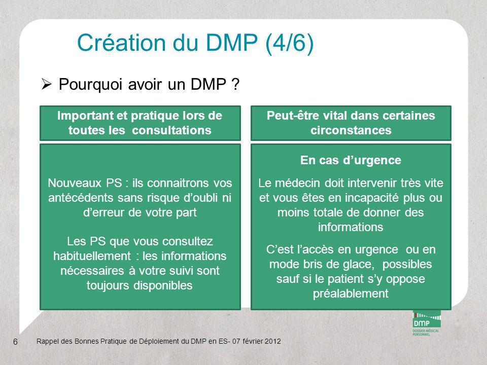 Création du DMP (4/6)  Pourquoi avoir un DMP ? Rappel des Bonnes Pratique de Déploiement du DMP en ES- 07 février 2012 6 Nouveaux PS : ils connaitron