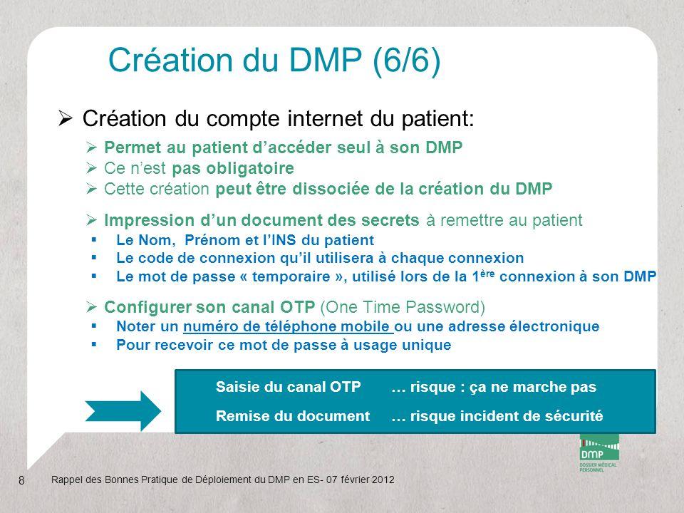 Création du DMP (6/6)  Création du compte internet du patient:  Permet au patient d'accéder seul à son DMP  Ce n'est pas obligatoire  Cette créati