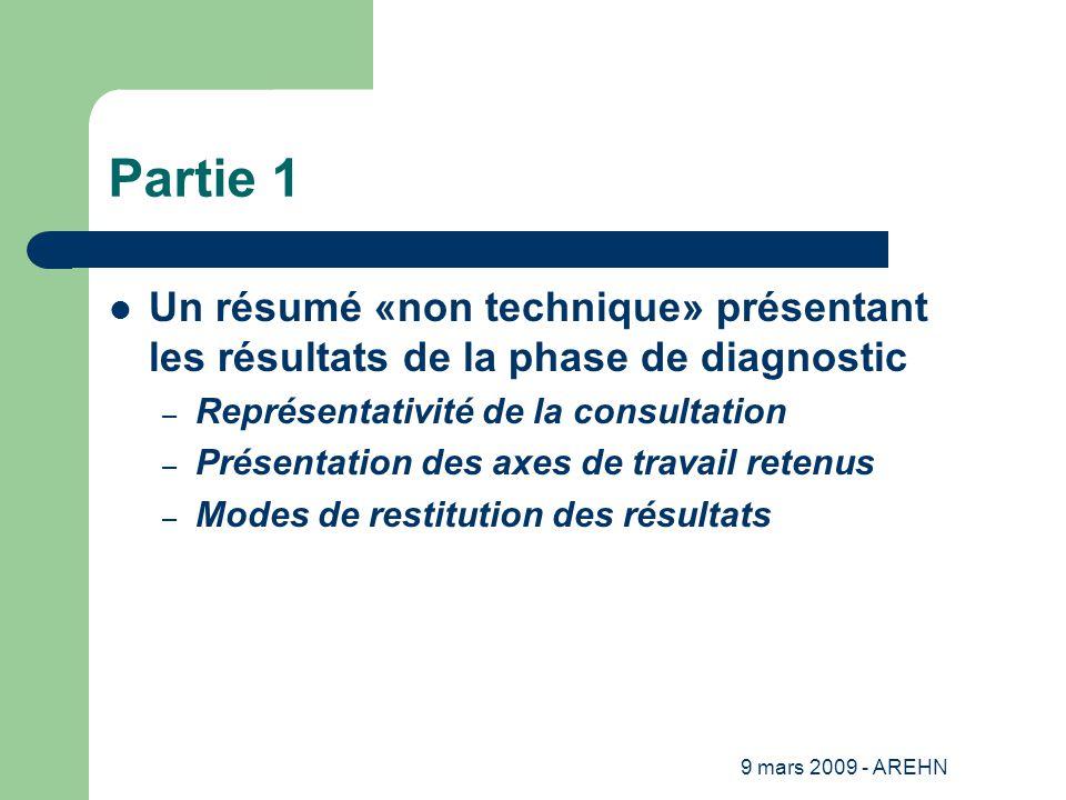 9 mars 2009 - AREHN Partie 1 Un résumé «non technique» présentant les résultats de la phase de diagnostic – Représentativité de la consultation – Présentation des axes de travail retenus – Modes de restitution des résultats