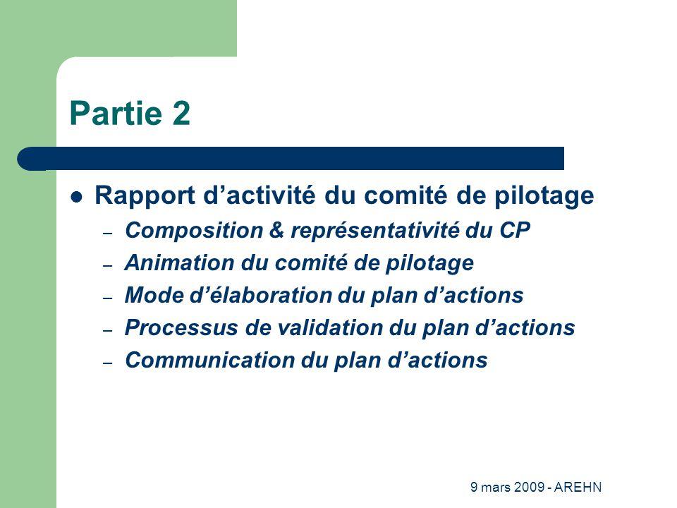 9 mars 2009 - AREHN Partie 2 Rapport d'activité du comité de pilotage – Composition & représentativité du CP – Animation du comité de pilotage – Mode d'élaboration du plan d'actions – Processus de validation du plan d'actions – Communication du plan d'actions