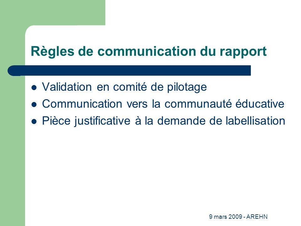 9 mars 2009 - AREHN Règles de communication du rapport Validation en comité de pilotage Communication vers la communauté éducative Pièce justificative à la demande de labellisation