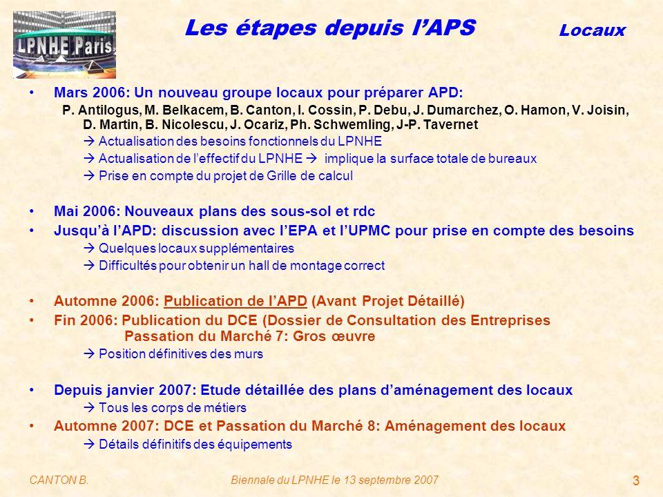 Locaux CANTON B.Biennale du LPNHE le 13 septembre 2007 3 Les étapes depuis l'APS Mars 2006: Un nouveau groupe locaux pour préparer APD: P.