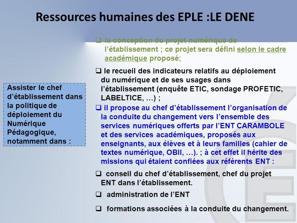 Ressources humaines des EPLE :LE DENE  la conception du projet numérique de l'établissement ; ce projet sera défini selon le cadre académique proposé