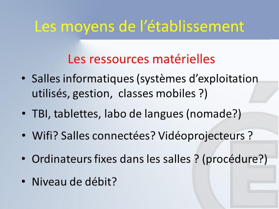 Les ressources matérielles Les moyens de l'établissement Niveau de débit? Salles informatiques (systèmes d'exploitation utilisés, gestion, classes mob