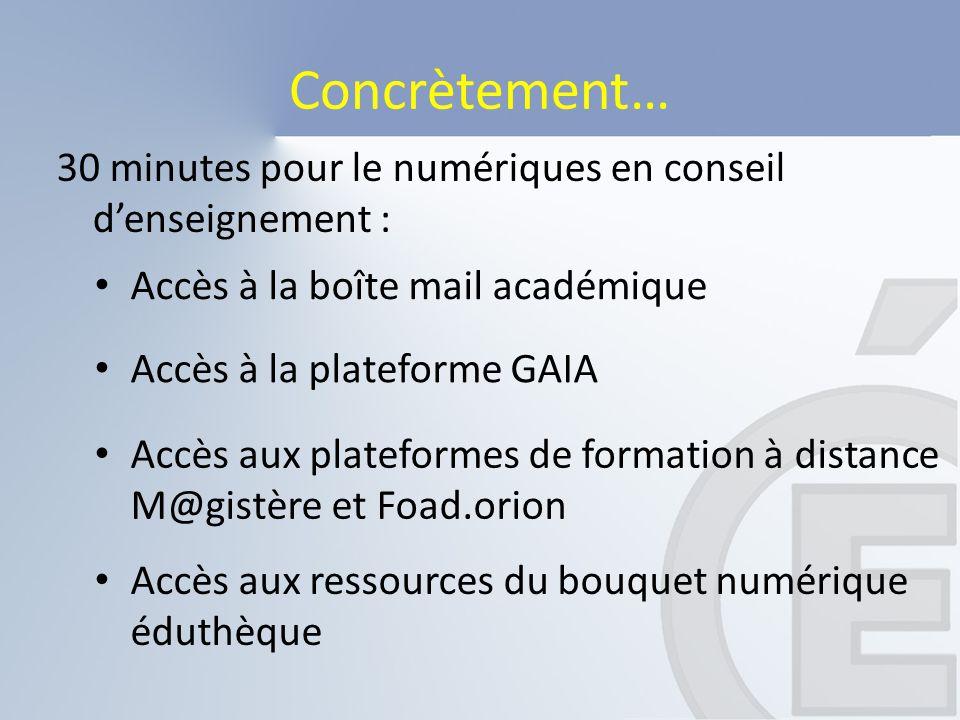 Concrètement… Accès aux ressources du bouquet numérique éduthèque 30 minutes pour le numériques en conseil d'enseignement : Accès à la boîte mail acad