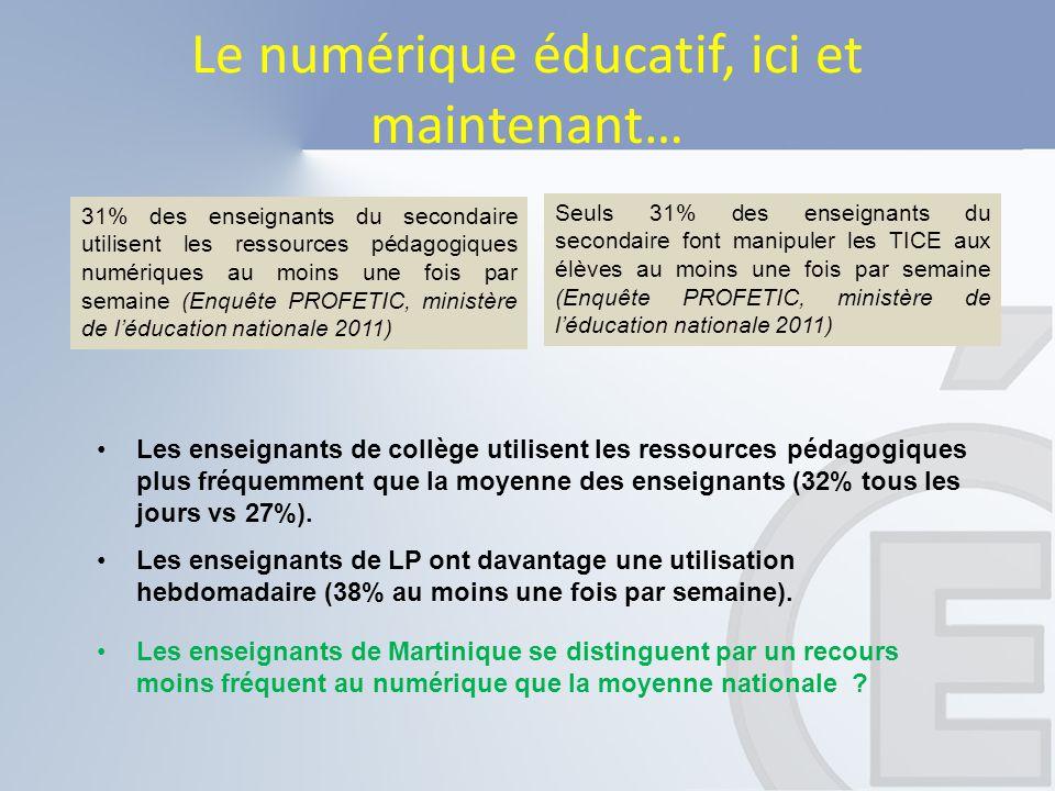 Le numérique éducatif, ici et maintenant… Les enseignants de Martinique se distinguent par un recours moins fréquent au numérique que la moyenne natio