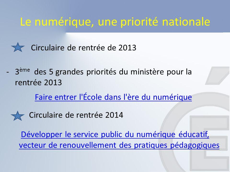 Le numérique, une priorité nationale Développer le service public du numérique éducatif, vecteur de renouvellement des pratiques pédagogiques Circulai
