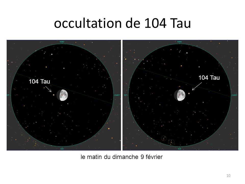occultation de 104 Tau 10 le matin du dimanche 9 février Dabih Junon 97 Tau Kappa Aqr 104 Tau