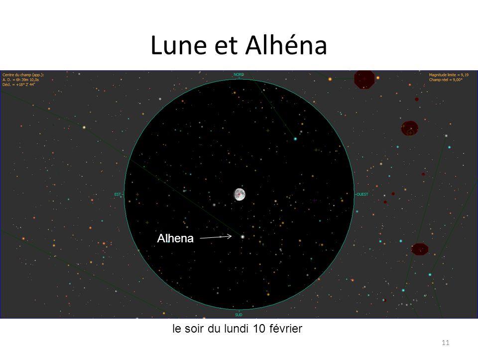 Lune et Alhéna 11 Lune Saturne Mercure le soir du lundi 10 février Alhena