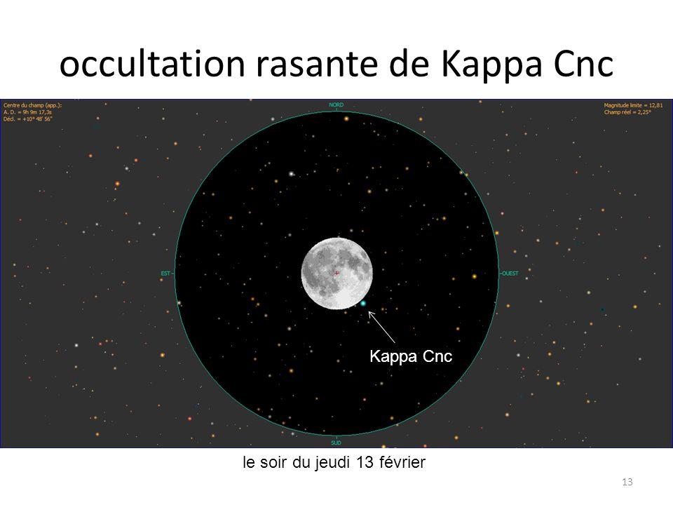 occultation rasante de Kappa Cnc 13 le soir du jeudi 13 février Mercure Saturne Lune Lambda Psc Epsilon Psc Kappa Cnc