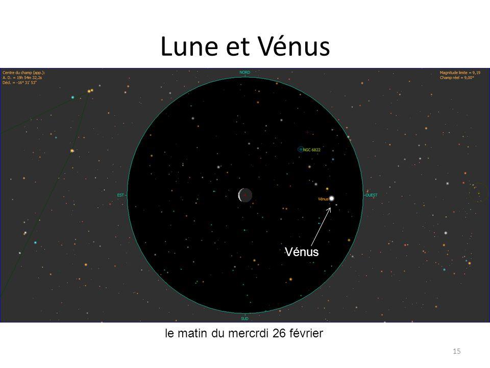 Lune et Vénus 15 Dzêta Tau le matin du mercrdi 26 février Vénus