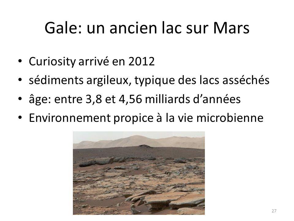 Gale: un ancien lac sur Mars Curiosity arrivé en 2012 sédiments argileux, typique des lacs asséchés âge: entre 3,8 et 4,56 milliards d'années Environn