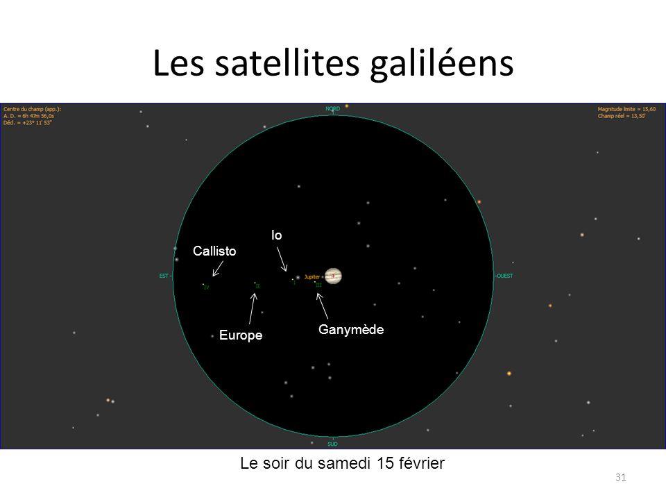 Les satellites galiléens 31 Ganymède Io Europe Callisto Le soir du samedi 15 février