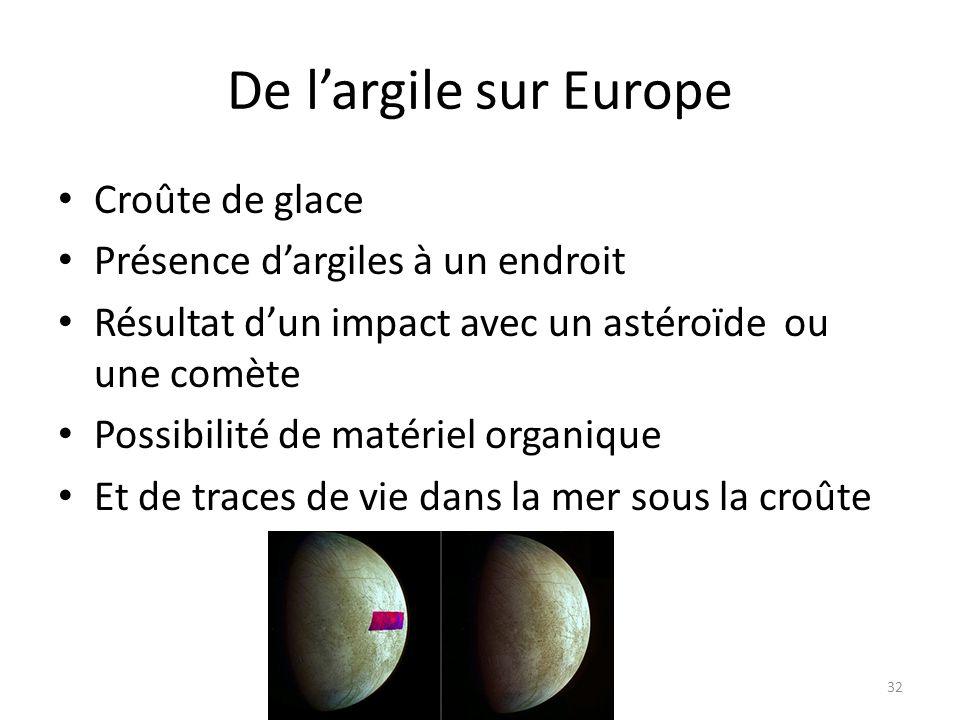 De l'argile sur Europe Croûte de glace Présence d'argiles à un endroit Résultat d'un impact avec un astéroïde ou une comète Possibilité de matériel or
