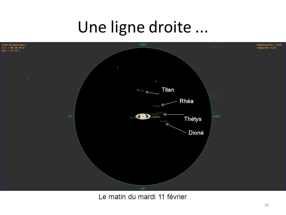 Une ligne droite... 36 Le matin du mardi 11 février Dioné Thétys Rhéa Titan