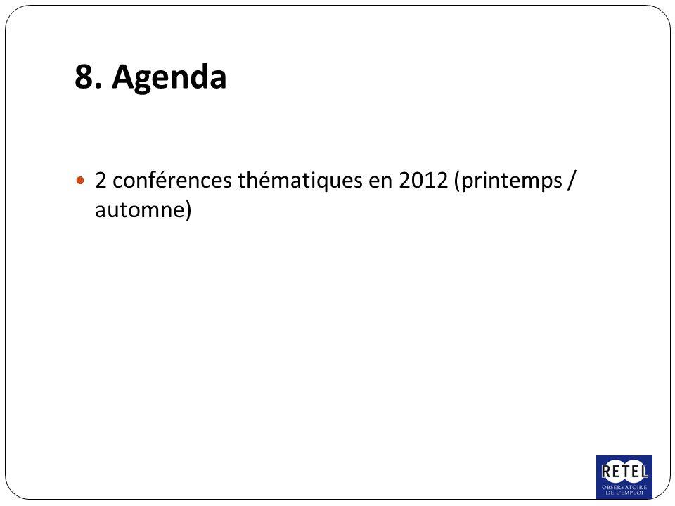 8. Agenda 2 conférences thématiques en 2012 (printemps / automne)