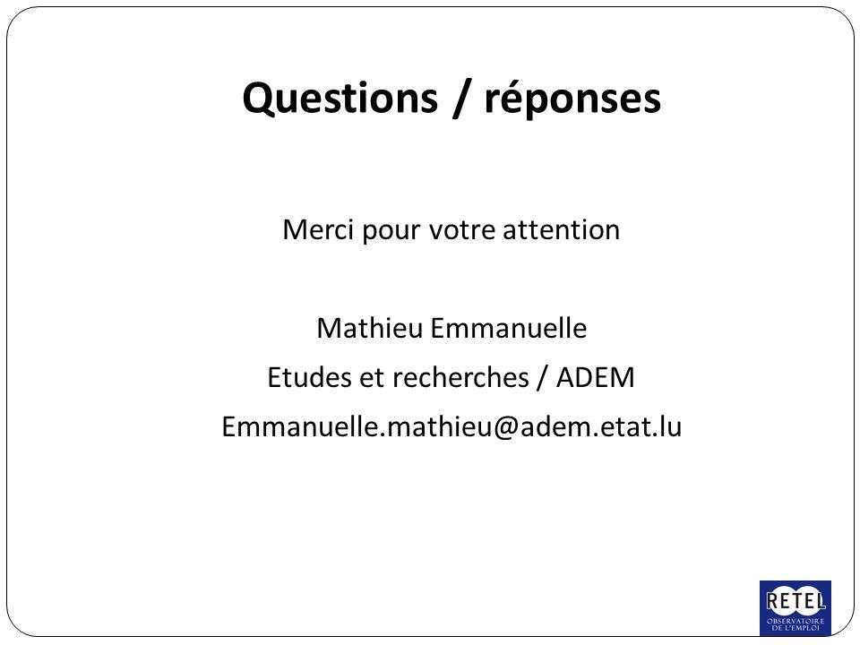 Questions / réponses Merci pour votre attention Mathieu Emmanuelle Etudes et recherches / ADEM Emmanuelle.mathieu@adem.etat.lu