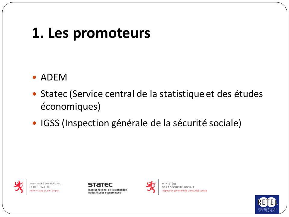 1. Les promoteurs ADEM Statec (Service central de la statistique et des études économiques) IGSS (Inspection générale de la sécurité sociale)