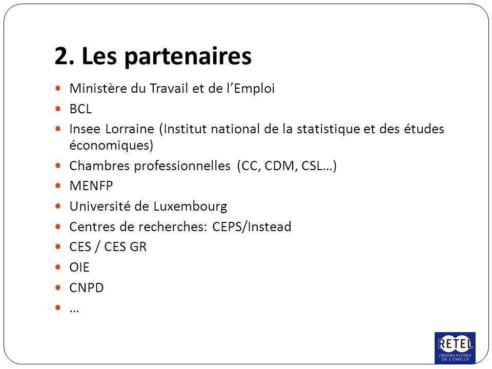 2. Les partenaires Ministère du Travail et de l'Emploi BCL Insee Lorraine (Institut national de la statistique et des études économiques) Chambres pro