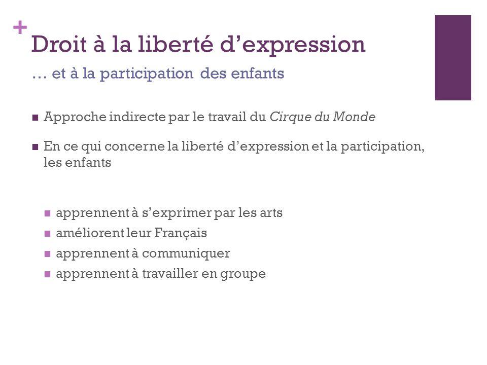 + Droit à la liberté d'expression Approche indirecte par le travail du Cirque du Monde En ce qui concerne la liberté d'expression et la participation, les enfants apprennent à s'exprimer par les arts améliorent leur Français apprennent à communiquer apprennent à travailler en groupe … et à la participation des enfants